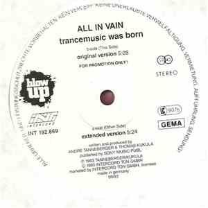 All In Vain - Trance Music Was Born album flac